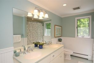 Cottage Full Bathroom with Simple marble counters, Crown molding, Rejuvenation vernon bin pull, Simple Marble, Frameless