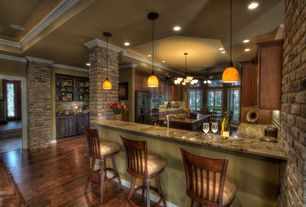 Country Kitchen with Kitchen island, Complex Granite, Complex granite counters, Raised panel, Chandelier, Pendant light