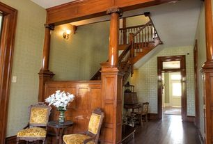 Craftsman Staircase with Hardwood floors, High ceiling, Wall sconce, interior wallpaper