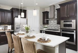Transitional Kitchen with Pendant light, Daltile Olympus Slate Parthenon Blend, High ceiling, travertine tile floors