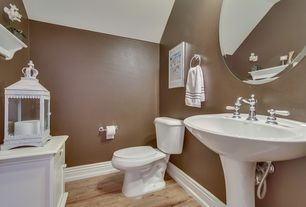 Traditional Powder Room with Powder room, Flat panel cabinets, High ceiling, Hardwood floors, Pedestal sink, Wood counters
