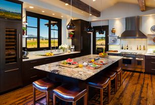 Traditional Kitchen with Kitchen island, Penny Tile, Flush, European Cabinets, Lamps Plus Bryden Black LED Mini Pendant Light