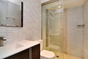 Modern 3/4 Bathroom with ceramic tile floors, frameless showerdoor, Rain shower, Flush, European Cabinets, Undermount sink