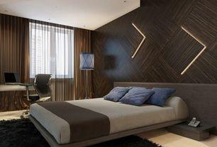 Contemporary Master Bedroom with Custom wood panel accent wall, Modloft jane bed, Hardwood floors, Pendant light, Casement