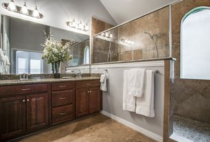 Mediterranean 3/4 Bathroom with limestone tile floors, Bellmont - 1600 series semi-custom cabinets, crest alder bordeaux
