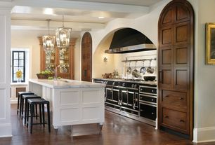 Traditional Kitchen with Flush, Standard height, Exposed beam, Complex marble counters, Glass panel, can lights, Casement