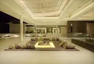 Tropical Patio with Pathway, French doors, Skylight, exterior tile floors