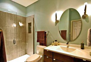 "Modern 3/4 Bathroom with Flush, European Cabinets, Undermount sink, American Imaginations 37"" Ceramic Bathroom Vanity Top"