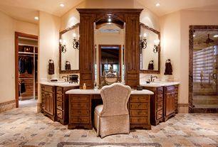 Traditional Master Bathroom with Rain shower, Sandra Vanity Stool, Inset cabinets, Daltile - Coastal Keystones Mosaic