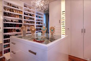 Contemporary Closet with Built-in bookshelf, Italuce ITLED 3528 600 Waterproof LED Strip Light, Hardwood floors, Chandelier