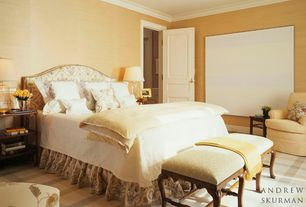 Traditional Master Bedroom with Standard height, Crown molding, specialty door, can lights, Carpet, interior wallpaper