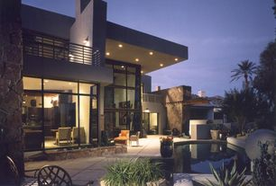 Contemporary Patio with exterior tile floors, Trellis, Pond