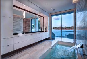 Contemporary Master Bathroom with Undermount sink, drop in bathtub, European Cabinets, sliding glass door, Master bathroom