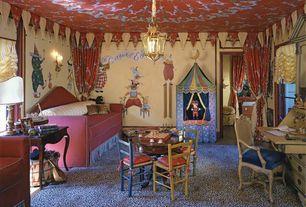 Eclectic Kids Bedroom with Wall sconce, no bedroom feature, Paint, Hardwood floors, Standard height, Pendant light