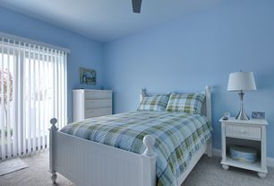 Country Guest Bedroom with Park B Smith Atelier Full Comforter Set, Poundex Twin Size Bed In White Finish, Carpet