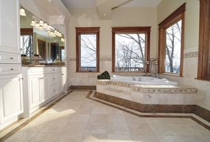 Craftsman Full Bathroom with Pagani 60 x 60 corner drop-in bathtub, Exposed beam, High ceiling, Raised panel, Vinyl floors