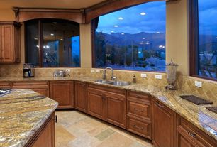 Craftsman Kitchen with MS International Desert Trail Pattern Gauged Slate Floor and Wall Tile, Pendant light, Raised panel