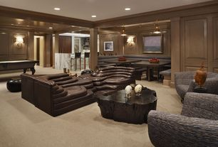Contemporary Basement with Columns, Imbuia Cross Cut Coffee Table Top, Wood paneling, Built-in bookshelf, Carpet, flush light