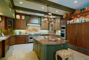 Country Kitchen with Standard height, full backsplash, Crown molding, Breakfast bar, Exposed beam, Glass panel, Custom hood