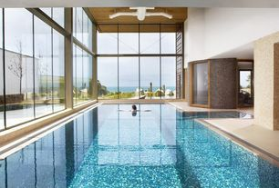 Contemporary Swimming Pool with exterior tile floors, Indoor pool