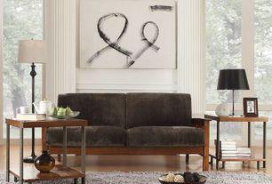 Modern Living Room with High ceiling, Hardwood floors, Chair rail, Jaipur Rugs Flux Cool Gray Shag Area Rug, Columns