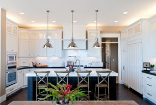 Cottage Kitchen with Soapstone counters, Flat panel cabinets, Restoration Hardware HARMON PENDANT - POLISHED NICKEL, L-shaped