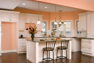 Traditional Kitchen with Undermount sink, Raised panel, Breakfast bar, Casement, L-shaped, Simple granite counters