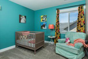 Contemporary Kids Bedroom with Sundvik crib - gray/brown, Carpet