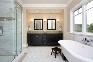Traditional Master Bathroom with Clawfoot, Simple granite counters, Simple Granite, Master bathroom, Wall sconce, Double sink