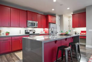 Contemporary Kitchen with Undermount sink, Paint 2, Breakfast bar, Built In Refrigerator, built-in microwave, Paint 3, Flush