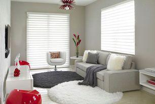 Contemporary Living Room with flush light, Concrete tile , Built-in bookshelf
