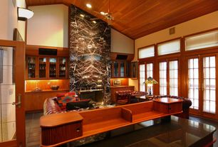 Contemporary Living Room with Transom window, can lights, Ceiling fan, French doors, Glass panel door, High ceiling