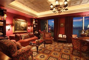Traditional Living Room with Standard height, Carpet, bedroom reading light, Pendant light, Box ceiling, sliding glass door