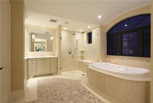 Traditional Master Bathroom with specialty door, frameless showerdoor, Crown molding, Master bathroom, Raised panel