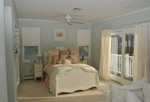 Modern Guest Bedroom with Glass panel door, Ceiling fan, Carpet