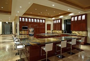 Contemporary Kitchen with Glass panel, L-shaped, sliding glass door, travertine tile floors, Breakfast bar, European Cabinets