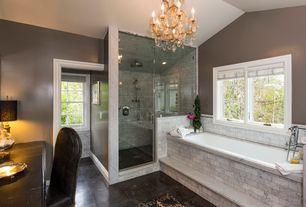 Traditional Master Bathroom with Master bathroom, slate tile floors, Rain shower, frameless showerdoor, Pendant light