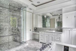 Traditional Master Bathroom with Bathtub, Stone Tile, Wall sconce, Shower, Casement, Master bathroom, drop in bathtub, Flush