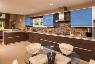 Contemporary Kitchen with Complex marble counters, Undermount sink, Pendant light, L-shaped, Subway Tile, Breakfast nook