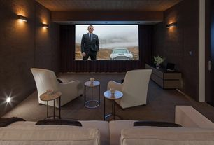 Contemporary Home Theater with Crate & barrel clara chair, Carpet, Pb comfort square upholstered box-edge cushion sofa