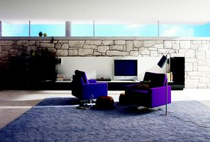 Contemporary Living Room with limestone tile floors