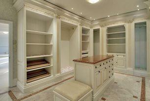 Traditional Closet with Built-in bookshelf, Interlocking Pavers, can lights, Crown molding, Standard height, flush light