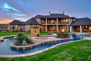 Contemporary Swimming Pool with Fence, Fire pit, Deck Railing, exterior stone floors, French doors, Pool with hot tub