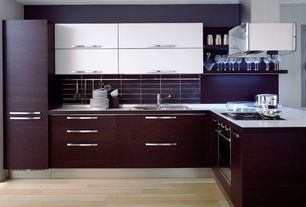 Contemporary Kitchen with European Cabinets, Flush, L-shaped, Corian counters, Large Ceramic Tile, Undermount sink