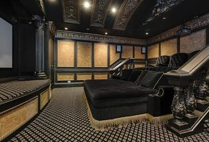 Traditional Home Theater with French doors, Crown molding, Wainscotting, Chair rail, Carpet