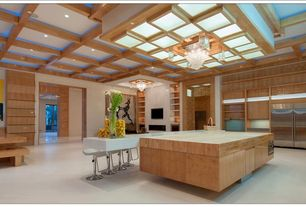 Contemporary Kitchen with High ceiling, Flush, Kitchen island, Wall sconce, Box ceiling, Breakfast nook, gas range, U-shaped