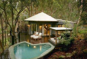 Tropical Patio with Deck Railing, Casement, sliding glass door, Gazebo