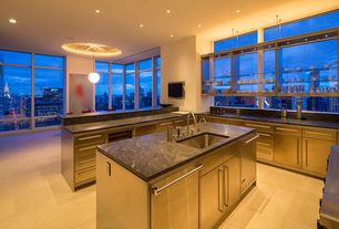 Contemporary Kitchen with two dishwashers, Virginia Black Granite, Kitchen island, High ceiling, picture window, Limestone