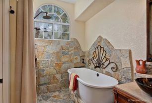 Mediterranean Full Bathroom with MS International California Gold Flagstone, Stone Tile, Rain shower, tiled wall showerbath