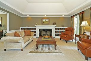 Traditional Living Room with Wainscotting, Carpet, Crown molding, Chair rail